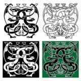 Uitstekend draken Keltisch decoratief ornament Royalty-vrije Stock Afbeeldingen