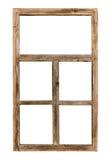 Uitstekend eenvoudig houten die raamkozijn op wit wordt geïsoleerd Stock Foto