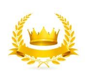 Uitstekend embleem, goud Royalty-vrije Stock Foto's