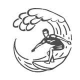 Uitstekend embleem Mensen die op golf surfen surfplank Branding logotype Stock Foto