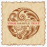 Uitstekend embleem met een mooi bladpatroon. Stock Afbeeldingen