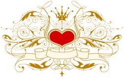 Uitstekend embleem met hart Stock Afbeelding