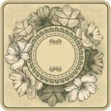 Uitstekend frame met bloeiende rozen en libel, h Stock Foto's