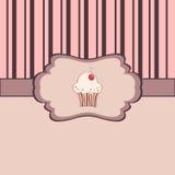 Uitstekend frame met cupcake Royalty-vrije Stock Afbeelding