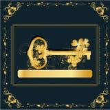 Uitstekend frame met gouden sleutel Stock Afbeeldingen
