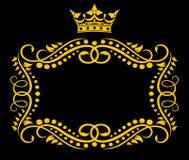 Uitstekend frame met kroon Stock Afbeeldingen