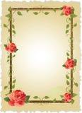 Uitstekend frame met rozen royalty-vrije illustratie