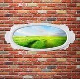 Uitstekend frame op bakstenen muur met weide Stock Foto