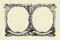 Uitstekend frame op oude document textuurachtergrond Stock Foto