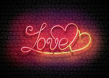 Uitstekend Gloeduithangbord met Liefdeinschrijving Stock Fotografie