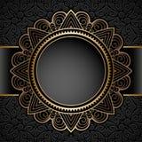 Uitstekend gouden cirkelkader over patroon Stock Fotografie