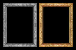 Uitstekend gouden en grijs die kader op zwarte achtergrond, het knippen weg wordt geïsoleerd Stock Afbeelding