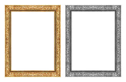 Uitstekend gouden en grijs kader dat op witte achtergrond en cli wordt geïsoleerd Stock Fotografie