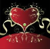 Uitstekend gouden hart. vector illustratie Stock Afbeeldingen