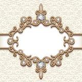Uitstekend gouden juwelenvignet Royalty-vrije Stock Fotografie