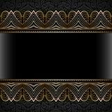 Uitstekend gouden kader met kantgrenzen Royalty-vrije Stock Foto's