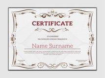 Uitstekend gouden klassiek certificaat, Certificaat van voltooiing t Stock Foto