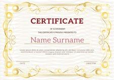 Uitstekend gouden klassiek certificaat, Certificaat van voltooiing t Royalty-vrije Stock Foto's