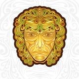 Uitstekend gouden masker of gezichtsetiket of merk Royalty-vrije Stock Afbeelding