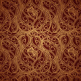 Uitstekend gouden naadloos patroon met overladen gedetailleerd ornament Stock Afbeelding