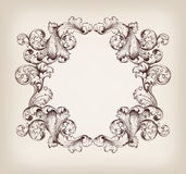 Uitstekend grenskader die barokke vector graveren Stock Foto