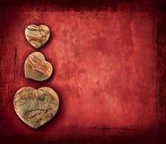 Uitstekend grungedocument met harten Stock Afbeelding