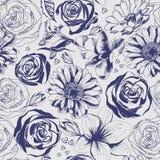 Uitstekend hand getrokken bloempatroon Stock Afbeeldingen