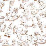 Uitstekend hand getrokken speelgoedpatroon Royalty-vrije Stock Afbeelding