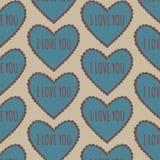 Uitstekend hart naadloos patroon op een beige achtergrond Royalty-vrije Stock Fotografie