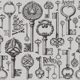 Uitstekend het ontwerpmalplaatje van het sleutels vectorembleem antiquiteiten royalty-vrije illustratie