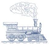 Uitstekend het ontwerpmalplaatje van het Stoom voortbewegings vectorembleem trein of vervoerpictogram Vector stock illustratie