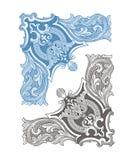 Uitstekend Hoekkader en Ornament vector illustratie