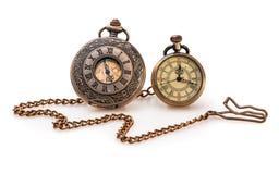 Uitstekend Horloge op Witte Achtergrond stock fotografie