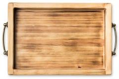Uitstekend houten die dienblad op witte achtergrond wordt geïsoleerd Royalty-vrije Stock Afbeelding