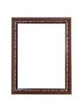 Uitstekend houten frame dat op witte achtergrond wordt geïsoleerde Stock Afbeelding