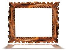 Uitstekend houten oud frame dat op wit wordt geïsoleerd Royalty-vrije Stock Foto's