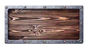 Uitstekend houten uithangbord in gekrast metaalkader op klinknagels royalty-vrije stock afbeeldingen