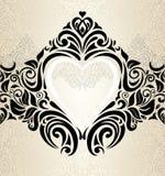 Uitstekend huwelijksgoud, ecru & de zwarte modieuze achtergrond van het uitnodigingsbehang Stock Afbeelding