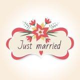 Uitstekend huwelijkskenteken met bloemen Uitstekend kader voor huwelijksdecoratie Vector illustratie Stock Foto