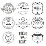 Uitstekend kader met het vastgestelde malplaatje van het Honingsetiket Royalty-vrije Stock Foto's