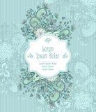 Uitstekend kader met krabbelbloemen op blauw Royalty-vrije Stock Afbeeldingen
