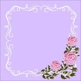 Uitstekend kader met kruldecoratie en roze royalty-vrije illustratie