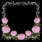 Uitstekend kader met roze pioenen Stock Afbeelding
