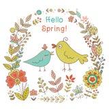 Uitstekend kader met vogels en bloemen Royalty-vrije Stock Afbeeldingen