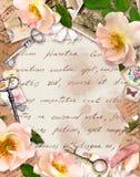 Uitstekend kader, retro ontwerp, Oud document, rozenbloemen, nota's, waterverfveren, sleutels Kaart met lege ruimte voor uw vector illustratie