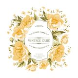 Uitstekend kader van gele bloemen op een witte achtergrond Royalty-vrije Stock Fotografie