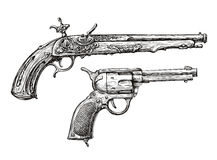 Uitstekend kanon Retro Pistool, Musket Hand-drawn schets van een Revolver, Wapen, Vuurwapen vector illustratie