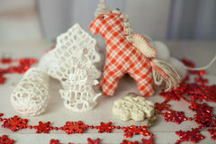 Uitstekend Kerstmis met de hand gemaakt speelgoed Stock Afbeelding