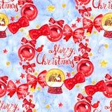Uitstekend Kerstmis naadloos patroon Illustraties van Kerstmisdecoratie De achtergrond van de winter Royalty-vrije Stock Afbeeldingen