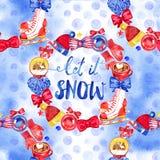 Uitstekend Kerstmis naadloos patroon Illustraties van Kerstmisdecoratie De achtergrond van de winter Stock Afbeelding